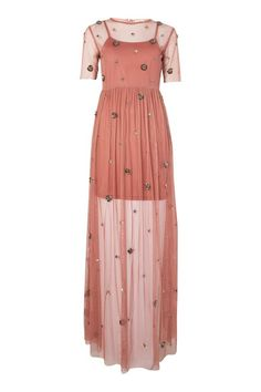 **Nightingale Embellished Mesh Maxi Dress by Lace & Beads