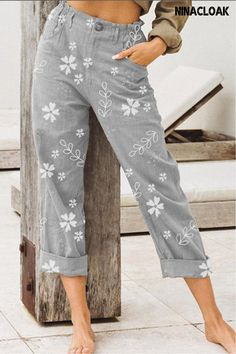 # S-3XL # Casual Pants # women's fashion # summer / spring # Spring Summer Cotton and Linen Casual Pants # Plant printing # Leisure # Floral Print Pants, Printed Pants, Long Pants, Wide Leg Pants, Cropped Pants, Leggings, Linen Trousers, Skirt Pants, Mode Style