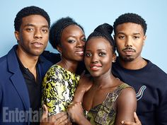 Chadwick Boseman, Danai Gurira, Lupita Nyong'o, and Michael B. Jordan #SDCC16 #BlackPanther