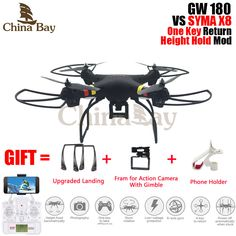 Profesional gw180 drone quadcopter del helicóptero de rc modo de retención de altura con 4 k/1080 p wifi cámara hd puede llevar gopro vs syma x8/x8hw