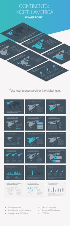 Flat design keynote template flat design keynote and template continents north america powerpoint template toneelgroepblik Image collections
