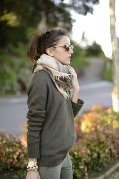 """effortlessly cute"" -c.kick- baggy gray sweater, nude scarf, gold bangles, stretchy pants"