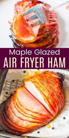 Maple Glazed Air Fryer Ham - so quick and easy to prepare and serve, enjoy this delicious boneless ham for a small holiday meal or even a simple weeknight dinner. The three-ingredient maple Dijon glaze gives the smoky ham a sweet and tangy flavor the entire family will love! Easy Weeknight Dinners, Easy Meals, Maple Glaze, Holiday Recipes, Dinner Recipes, Ham, Easter Party, Instant Pot, Good Food