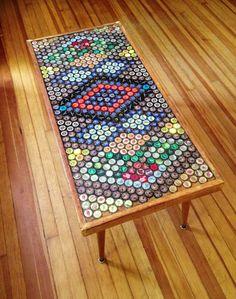 Beer Bottle Cap Table by Clare Giesen, via Behance