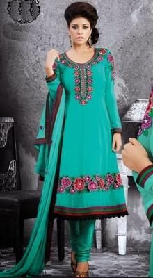 Magnificient Sea Green Chudidar Kameez
