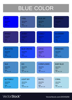 Blue Color Codes And Names Selection Colors coloring Colour Pallete, Color Combos, Color Schemes, Ral Colour Chart, Rgb Color Codes, Color Palette Challenge, Blue Words, Colors And Emotions, Ral Colours