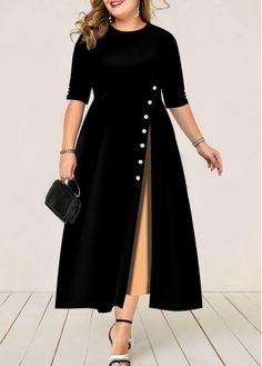 Ericdress Plus Size Mid-Calf Half Sleeve Round Neck Pullover Mid Waist Dress - Moda daily Plain Dress, Maxi Dress With Sleeves, Half Sleeves, Short Sleeve Dresses, Chiffon Cardigan, Belted Dress, Plus Size Maxi Dresses, Plus Size Outfits, Trendy Dresses