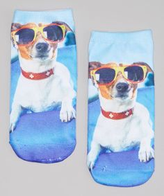 Loving this LaDeDa Socks Blue Dog with Glasses Sublimation No-Show Socks on #zulily! #zulilyfinds