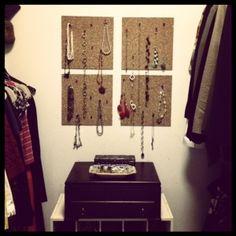 Cork tile jewelry storage