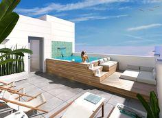 Hot Tub Backyard, Small Backyard Pools, Small Pools, Swimming Pools Backyard, Swimming Pool Designs, Small Swimming Pools, Hot Tub Deck, Rooftop Terrace Design, Rooftop Patio