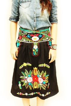 Noche & Flores Mexican strapless dress/skirt by AidaCoronado on Etsy