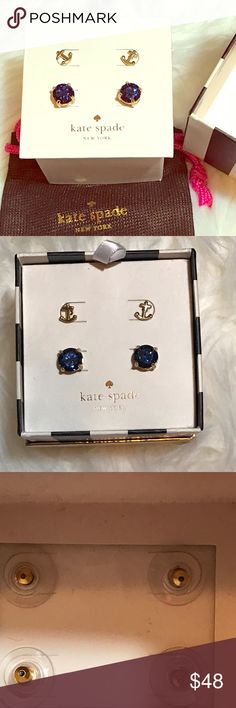 BOGOKate Spade ⚓️ & Navy Glitter Stud earrings These are brand new in box!  Gorgeous sparkly Navy glitter stud earrings and dainty 14k gold plated anchor stud earrings. Comes with a small Kate Spade jewelry bag. kate spade Jewelry Earrings