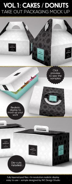 Cake, Donut, Pastry Box Take Out Packaging Mock Up VOL.1 - Food and Drink Packaging