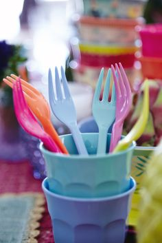 So fun for parties!!! Melamine Forks & Cups by RICE DK at www.pinksandgreen.co.uk