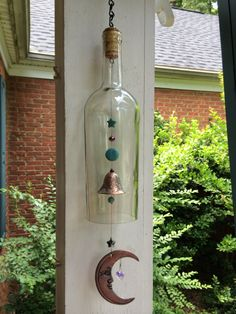 Moon Wine Bottle Wind Chime