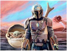 Mandalorian and The Child Mural   Sideshow Collectibles Sideshow Collectibles, Black Mamba, Bounty Hunter, Father And Son, Mandalorian, Live Action, Wall Murals, Star Wars, Batman