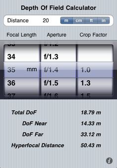 Depth of Field Calculator.Please check out my website thanks. www.photopix.co.nz