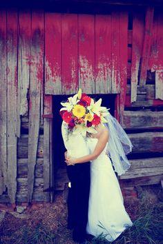 barn...flowers....secret kiss:)  #wedding #photography