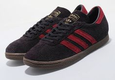 1970s Adidas Tobacco trainers reissued in night burgundy as a Size? exclusive