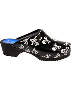 Cape Clogs Shoes Skulls - Black/White