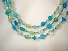 Triple Blue Green White Sea Glass Necklace With Earrings