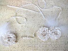 Ivory Peal Flower Feather Lace 1920s Great Gatsby inspired Headband - Daisy Buchanan Headband