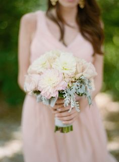 Love the softness and the subtleness of this pretty bridesmaid bouquet • dahlias, roses, dusty miller