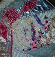 I ❤ crazy quilting, beading & embroidery . . . Taking it easy today, stitching and doing laundry. ~By Pamela Kellogg