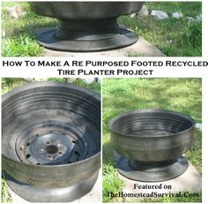 How to Make a Re Purposed Footed Tire Planter