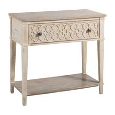 Paxton Side TableSCH-158030In StockThe wooden top of the 2 tone Paxton Side Table contrasts against a carved drawer by a natural beige tone antique finish.Materials: OakFinishes: Beige White Wash, Charcoal OakOverall Dimensions: W34.5 x D16.25 x H32.5