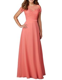 cce786504f6c Fnina Womens Sheer Back Chiffon Long formal Dresses Evening Gowns Peach  Size 20W     Click for Special Deals