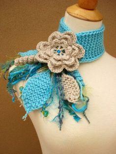 Cro crochet, Linen Flower Scarflette