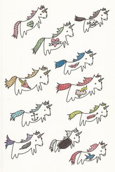 Unicorns with Tattoos Temporary Tattoo Pack by ConfettiMonster, $10.00