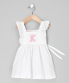 White & Pink Initial Angel-Sleeve Dress - Infant, Toddler & Girls #zulily #zulilyfinds