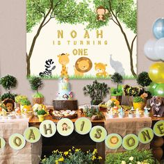 baby shower backdrop, safari, jungle animals, sign poster banner for dessert table PDF file personalized safari jungle animals baby shower birthday printable Jungle Theme Birthday, Jungle Party, Safari Party, Animal Birthday, Baby Birthday, First Birthday Parties, First Birthdays, Birthday Tree, Baby Theme