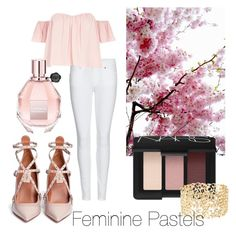 Feminine Pastels by rachel-w14 on Polyvore featuring polyvore, fashion, style, River Island, Burberry, Valentino, Charlotte Russe, NARS Cosmetics, Viktor & Rolf, women's clothing, women's fashion, women, female, woman, misses and juniors