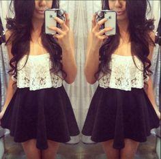 lace crop top and navy skater skirt. Skirt Outfits, Dress Skirt, Cute Outfits, Flowy Skirt, Shirt Dress, Skirt Belt, Pleated Skirt, Lace Dress, Teen Fashion