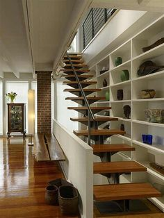 Modern Deck Stairs Design Ideas, Pictures, Remodel and Decor Modern Staircase, Staircase Design, Stair Design, Staircase Ideas, Interior Stairs, Interior Design Living Room, Hall Interior, Stairs Architecture, Interior Architecture