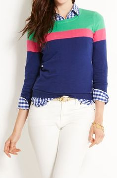 Gingham + colorblocked sweater is a cute summer to fall transition outfit