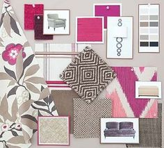Interior design mood board - fuschia + grey/taupe The dream is lauch a interiors ie wallpaper / bedding interior co-ordinates range of my own printed textiles designs for the luxury market.