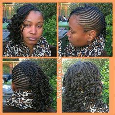 American and African Hair Braiding : Kinky twists Cornrows natural hair - Beauty Haircut Cornrows Natural Hair, Small Cornrows, Twist Cornrows, Cornrows Updo, Be Natural, Natural Hair Care, Natural Hair Styles, Short Hair Styles, Braid Styles