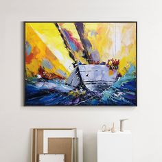 Canvas Painting Landscape, Seascape Paintings, Oil Painting On Canvas, Nautical Painting, Sailboat Painting, Coastal Wall Art, Yellow Painting, Big Canvas, Beautiful Paintings