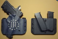 www.halfcockedholsters.com OWB pancake in 3% with stars and dual mag holder for a STI 1911