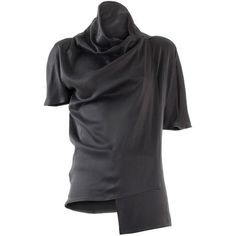 Haider Ackermann Silk Satin Short Sleeve Top ($395) ❤ liked on Polyvore