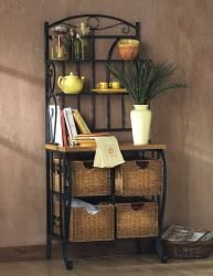 Holly Martin Tuscan Scrolling Metal Iron Bakers Rack W Wicker Basket