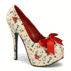 Tattoo Print Platform Pumps by Pinup Couture Shoes. Closed toe Pinup Couture cheetah print platform pumps with big satin ribbon, high heel, and concealed platform. High Heel Pumps, Sexy High Heels, Platform Pumps, Pump Shoes, Shoes Heels, Stiletto Shoes, Bow Heels, Court Shoes, Crazy High Heels