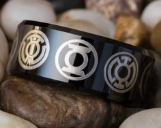 Tungsten Ring 10mm Black Beveled Green Lantern by FANaticCreations, $49.00