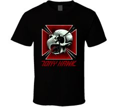 Tony Hawk black t shirt this design is printed on a quality cotton t shirt using the latest DTG (Direct to Garment) printing technology. Tony Hawk, Are You The One, Athletes, Shirt Style, Mens Tops, T Shirt, Black, Supreme T Shirt, Tee