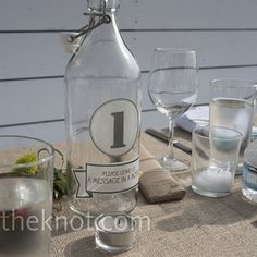 BTB: maybe bottles like this are better than wine?... Wedding, Reception, Beach, Table number, Vow renewal, Message in a bottle