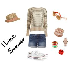 Yes, I'm in love with stripes. :) #summer #stripes #love #converse #watch #peachy #bracelets #hat #shorts #jeans #outfit #clothes #polyvore